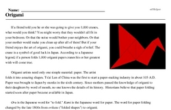 Print <i>Origami</i> reading comprehension.