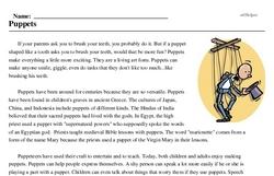 Print <i>Puppets</i> reading comprehension.