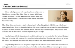 Print <i>What Is Christian Science?</i> reading comprehension.