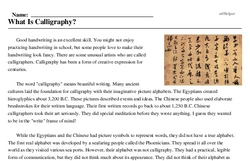 Print <i>What Is Calligraphy?</i> reading comprehension.