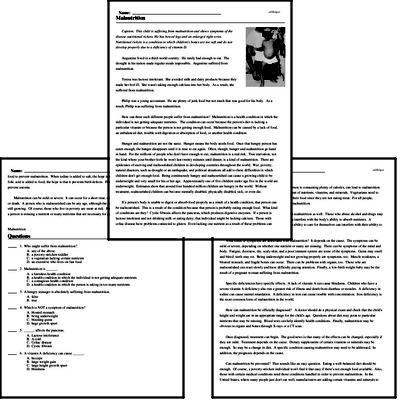 Print <i>Malnutrition</i> reading comprehension.