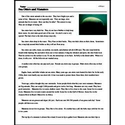 Print <i>Sea Otters and Manatees</i> reading comprehension.