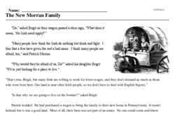 Print <i>The New Morran Family</i> reading comprehension.