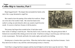 Print <i>Coffin Ship to America, Part 1</i> reading comprehension.