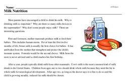 Print <i>Milk Nutrition</i> reading comprehension.