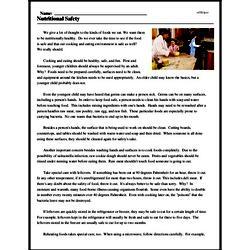 Print <i>Nutritional Safety</i> reading comprehension.