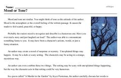 Print <i>Mood or Tone?</i> reading comprehension.