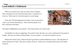 Print <i>Lord Selkirk's Settlement</i> reading comprehension.